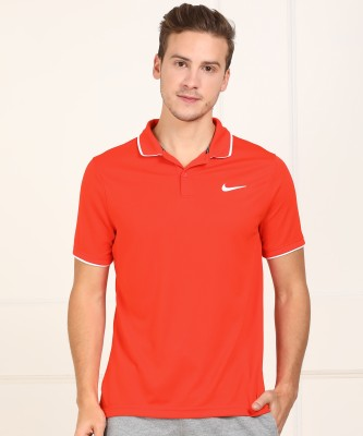 Peter England University Solid Men Polo Neck Blue, Orange T-Shirt