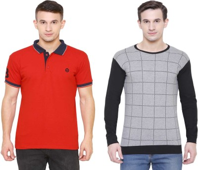 SCATCHITE Checkered, Color Block Men Polo Neck Red, Black, Grey T-Shirt(Pack of 2)