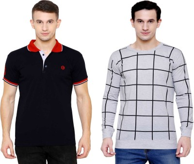 SCATCHITE Checkered, Color Block Men Polo Neck Grey, Black T-Shirt(Pack of 2)