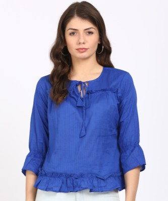 Style Quotient Casual Bell Sleeve Striped Women Blue Top