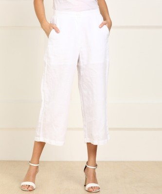 AND Relaxed Women White Trousers