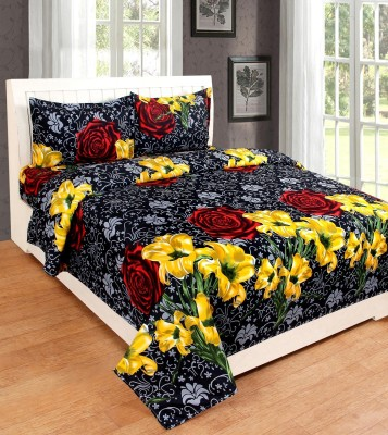 Red Bear 144 TC Cotton Double Floral Bedsheet(Pack of 1, Multicolor)