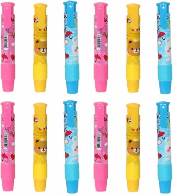 Parteet Birthday Party Return Gifts-Pen Style Erasers for Kids (Pack of 12) Non-Toxic Eraser(Multicolor)