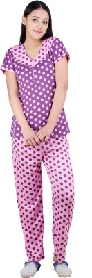 Kismat Fashion Women Polka Print Purple Top & Pyjama Set