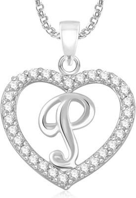 "Divastri \"" K \"" Letter Alphabet Necklace Pendants Chain Heart Pendant for Girls Boys Women Mens Valentine Gift Gold-plated, Silver Cubic Zirconia, Diamond Alloy, Stone Pendant"