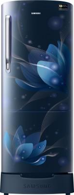Samsung 192 L Direct Cool Single Door 5 Star Refrigerator with Base Drawer(Saffron Blue, RR20R182XU8/HL)