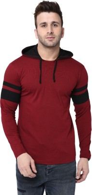 Bi Fashion Color Block Men Hooded Neck Maroon, Black T-Shirt
