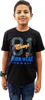 rowdy yankee Boys Printed Cotton Blend T Shirt(Black, Pack of 1)