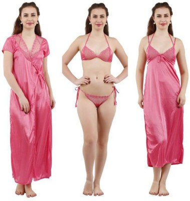 Lovie's Women Robe and Lingerie Set(Pink)
