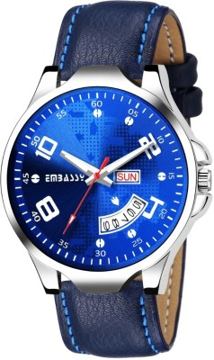 Embassy Shining Leather Blue Dial Watch For Boys Day And Date Series Analog Watch  - For Men