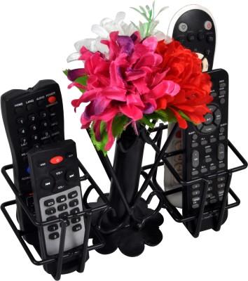 D&V ENGINEERING 4 Compartments metal Unique Flower VASE Remote Holder/Stand/Organizer for TV,AC,DVD,STB,DTH. REMOTES (Black)(Matte black)