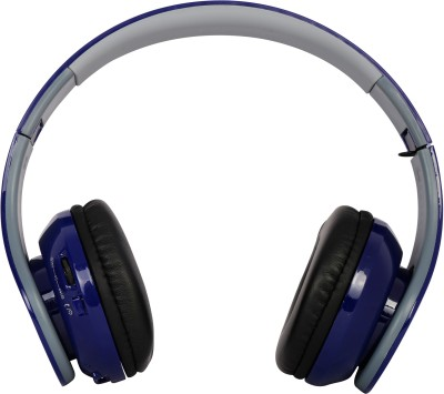 HM Enterprises TM-016 Wireless Bluetooth Headset Bluetooth Headset with Mic(Blue, Over the Ear)