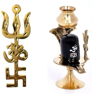 shiv mart Shivling brass statue with brass trishakti trishul Decorative Showpiece  -  8 cm(Metal, Multicolor)