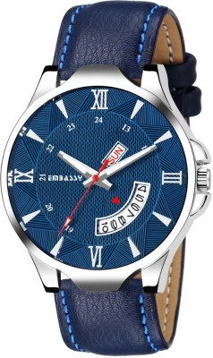 Embassy Cloudy Dial Leather Strap Watch For Boys Day And Date Series Analog Watch  - For Men