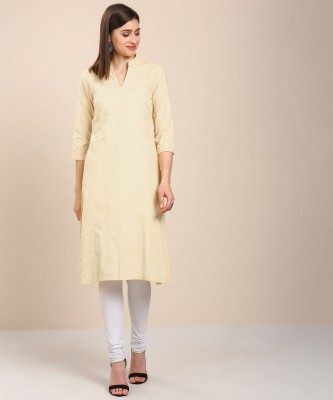 Biba Women Self Design Straight Kurta(Yellow) at flipkart