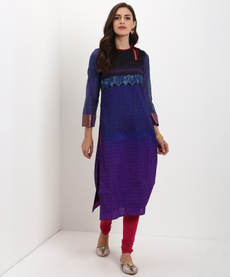 Biba Women Printed Straight Kurta(Multicolor) at flipkart