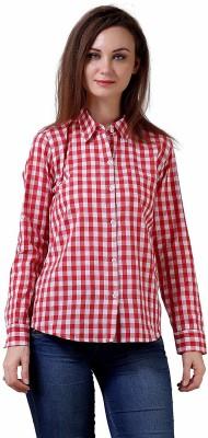 Ferari Women Solid, Checkered Casual White, Pink Shirt