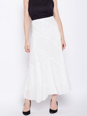 Oxolloxo Solid Women A-line White Skirt
