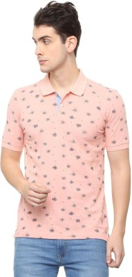 Allen Solly Printed Men Polo Neck Pink T-Shirt