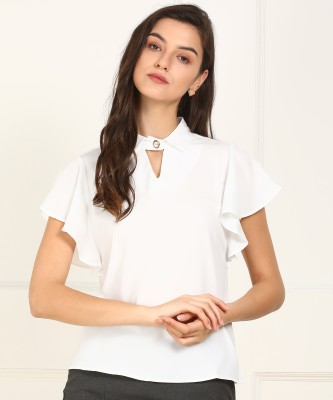 Van Heusen Formal Butterfly Sleeve Solid Women White Top