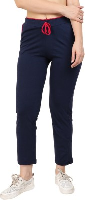 DIAZ Solid Women Dark Blue Track Pants DIAZ Women's Track Pants