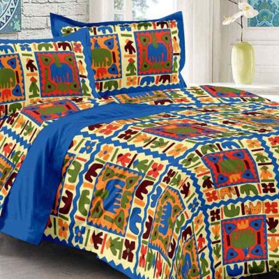 Kanha Online Shopping 200 TC Cotton Double King Animal Bedsheet(Pack of 1, Blue, Red)
