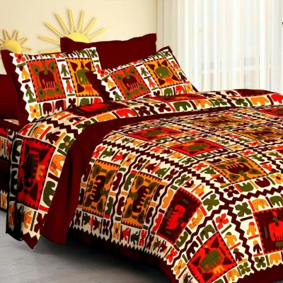 Kanha Online Shopping 200 TC Cotton Double King Animal Bedsheet(Pack of 1, Red, White)