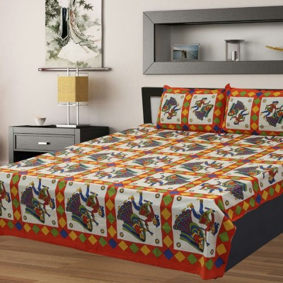 Kanha Online Shopping 200 TC Cotton Double King Abstract Bedsheet(Pack of 1, Orange, White)