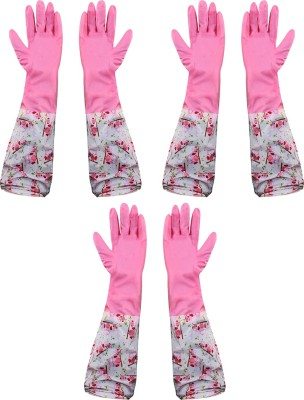 HOKIPO Reusable PVC Hand Gloves For Kitchen, Free Size, Elbow Length (3 Pair) Wet and Dry Glove Set(Free Size Pack of 3)
