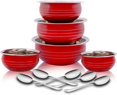 Classic Essential Red Coloured Handi, 5 Pcs set, 12cm, 14cm, 750ml,16cm, 18cm,...