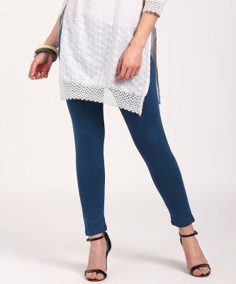 Aurelia Ankle Length Legging(Blue, Solid)