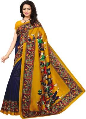 Saara Graphic Print Kalamkari Poly Silk Saree(Multicolor)