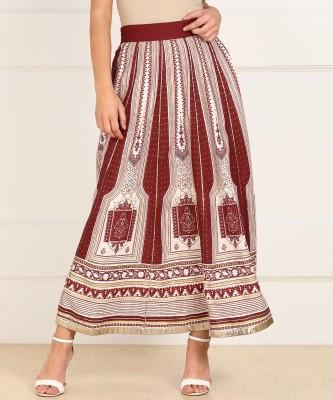 W Printed Women Regular Maroon Skirt at flipkart