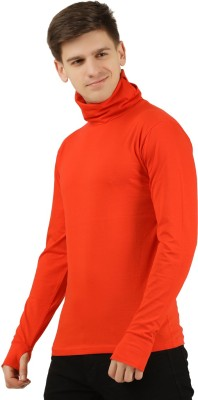 Tees Park Solid Men Turtle Neck Orange T-Shirt