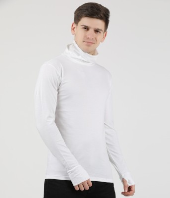 Tees Park Solid Men Turtle Neck White T-Shirt