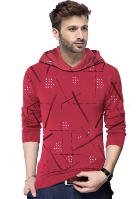SHAPPHR Color block Men Hooded Red T-Shirt