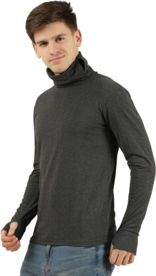 Tees Park Solid Men Turtle Neck Grey T-Shirt
