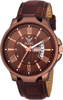A classy and sophisticated timepiece for modern men is this brown coloured round watch from Fogg Fashion. Highlighted with a brown bold dial and a brown bezel, this watch looks appealing. The number markings at 6 and 12 o clock positions ensure ease of time viewing. Styled with a unique brown strap, this watch fits well on your wrist. Durable and classy, this watch will complement your formal as well as semi-formal look.