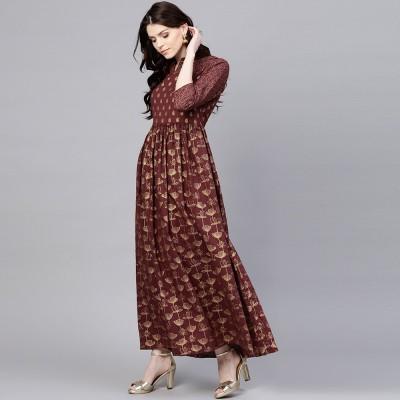 Aks Women Maxi Maroon Dress