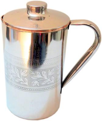 Indian Craft Villa 1.75 L Water Handmade High Quality Stainless Steel Copper Designer Pitcher Volume 1750 ML With Lid storage drinking Water Restauran