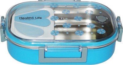 Parteet Stainless Steel Insulated 2 Grid Lunch Box with Spoon and Mini Salad Box,Size: 980Ml (Blue) 2 Containers Lunch Box(710 ml)