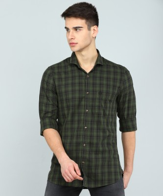 Peter England University Men Checkered Casual Black, Dark Green Shirt