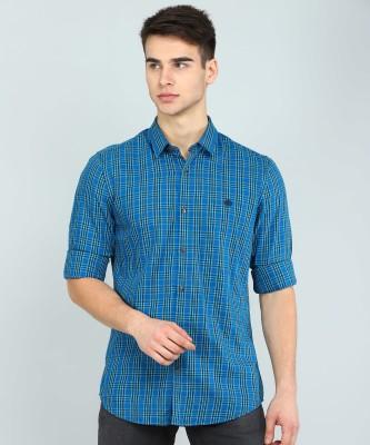 Peter England University Men Checkered Casual Blue Shirt