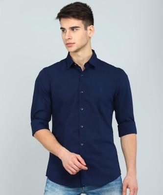Peter England University Men Solid Casual Dark Blue Shirt