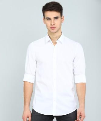 Peter England University Men Solid Casual White Shirt