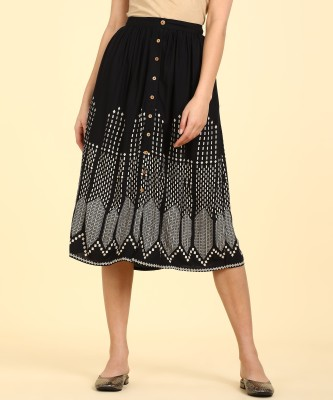 Global Desi Printed Women A-line Black Skirt