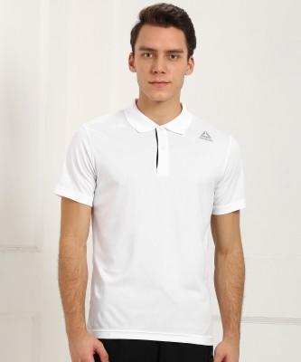 Peter England University Striped Men Polo Neck White, Green T-Shirt