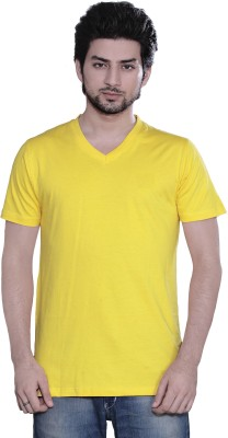 Zebu Solid Men V-neck Yellow T-Shirt