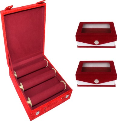 Aadhya combo of bangle & ring boxes (maroon) Vanity Box(Maroon)