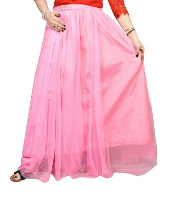 Janak Solid Women Layered Pink Skirt Janak Women's Skirts